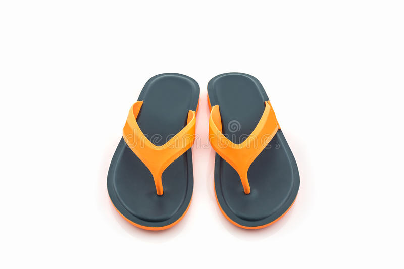 Colorful of Sandals shoes / Orange and black flip flops. stock photos