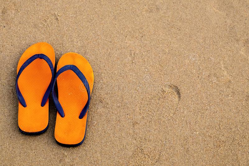Colorful Sandle on the Beach, Relax Scence in the Vacation Beach. Trip Travel royalty free stock photo