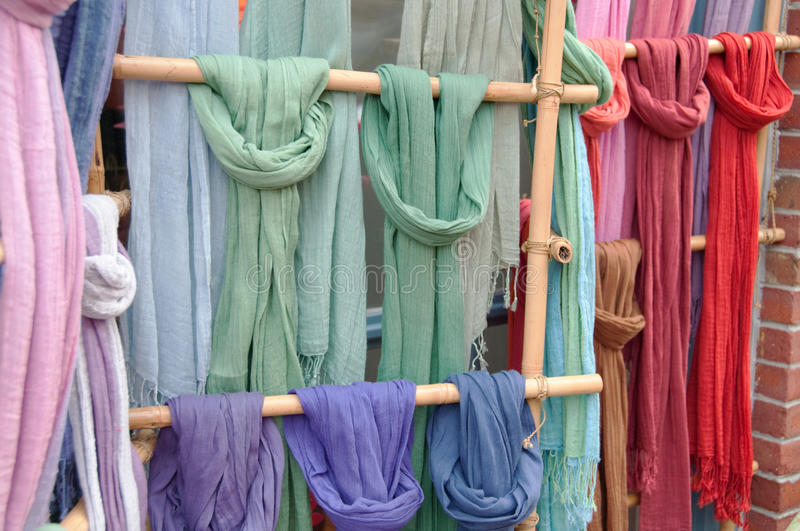 Download Colorful Scarves On Bamboo Display Stock Image - Image: 12862757