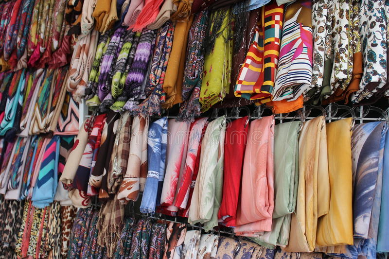 Colorful scarves in Nazareth market stock photography