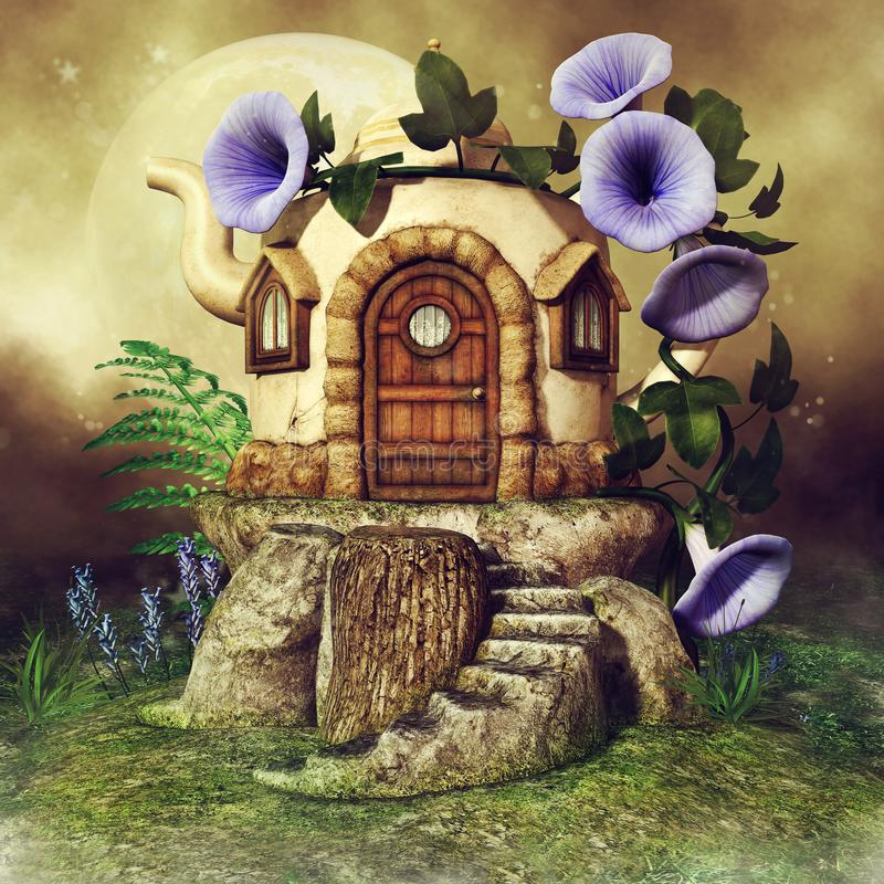 Teapot house with purple flowers. Colorful scene with a fantasy teapot house, purple flowers and green fern vector illustration