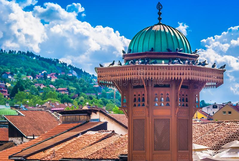 Colorful scenery in Sarajevo city, Eastern Europe. royalty free stock photos