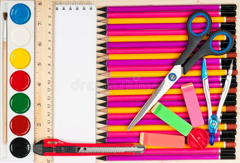 Colorful school accessories royalty free stock photography