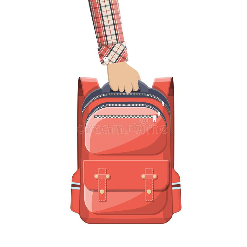Colorful school backpack in hand. stock illustration