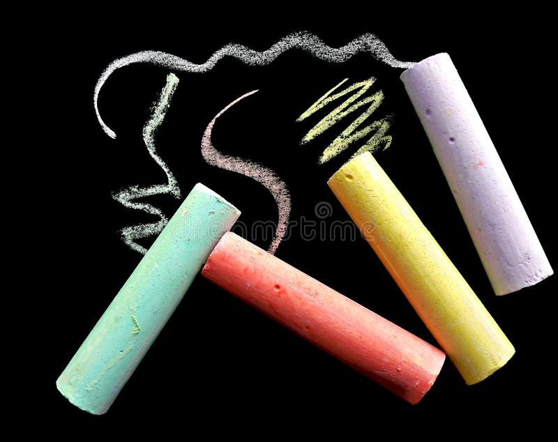 Colorful school chalk stock image