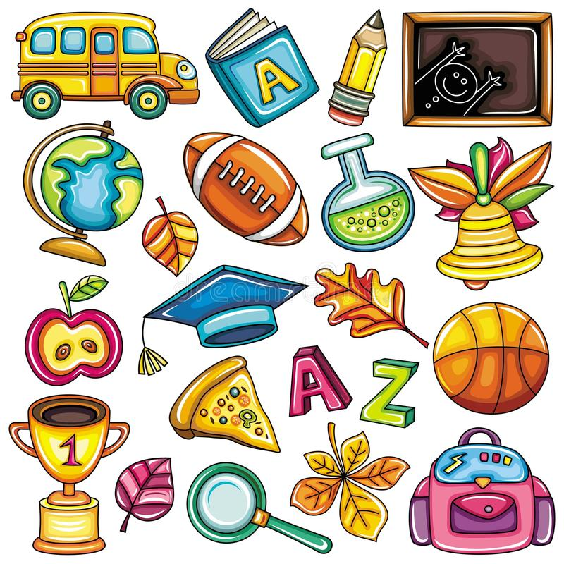 Colorful school icons royalty free illustration