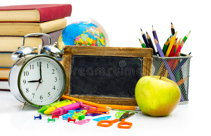 Colorful school notebooks and supplies stock photo