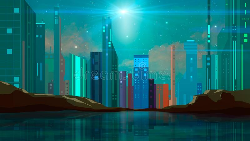 Colorful sci-fi modern future city illustration with rock, stars and reflection in water vector illustration