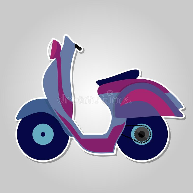 Colorful scooter icon isolated on white background. Vector illustration.  royalty free illustration