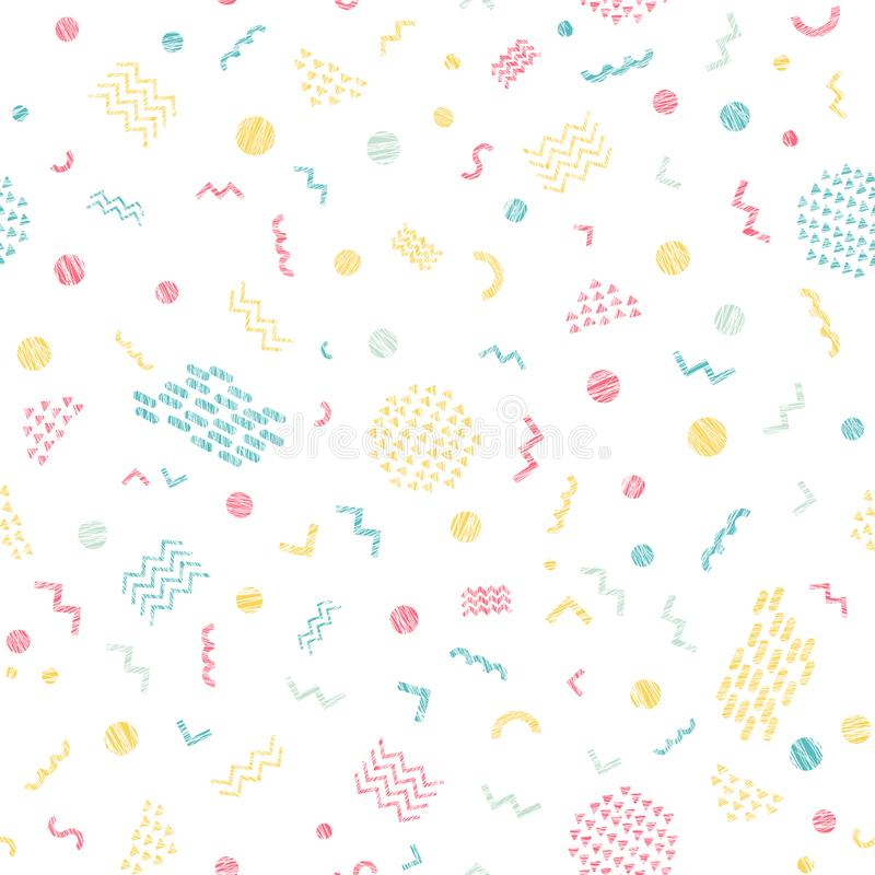 Colorful scratchy seamless pattern. Bright colors stock illustration
