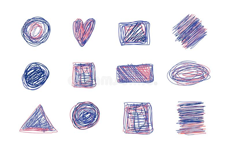 Colorful Scribble texture set. Pencil drawing with shapes of circle, star, heart. Chaotic sketch elements stock illustration
