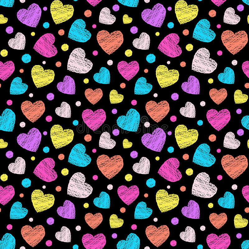 Colorful scribbled hearts vector illustration