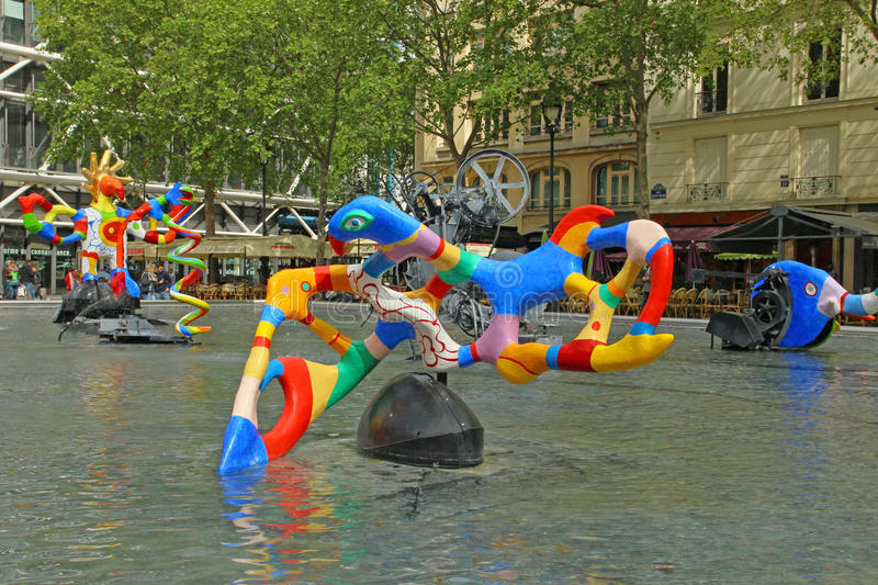 George Pompidou Center Sulptures in Paris royalty free stock photography