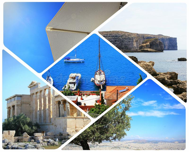 Colorful sea collage . Summer vacation conceoptual photo in Greece royalty free stock photos