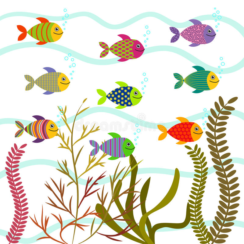Colorful sea fishes. Underwater nature vector. royalty free illustration