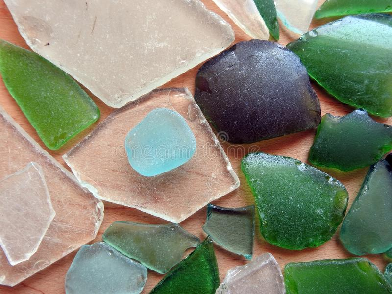 Colorful sea glass pieces royalty free stock photography