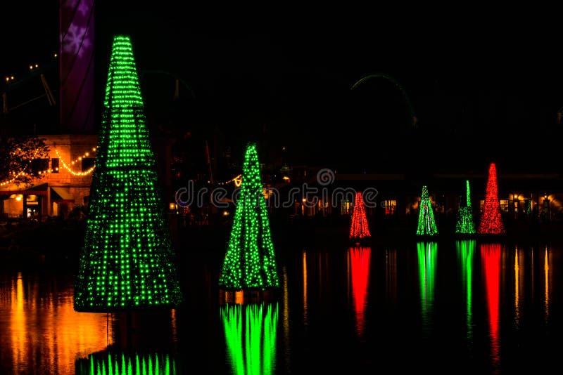 Colorful Sea of Trees in SeaWorlds Christmas Celebration 153. Orlando, Florida. November 23, 2019.  Colorful Sea of Trees in SeaWorlds Christmas Celebration 153 royalty free stock images