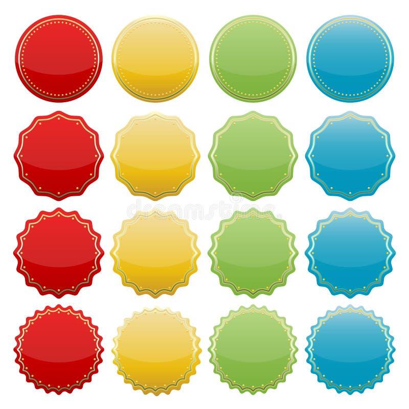 Colorful seals vector illustration
