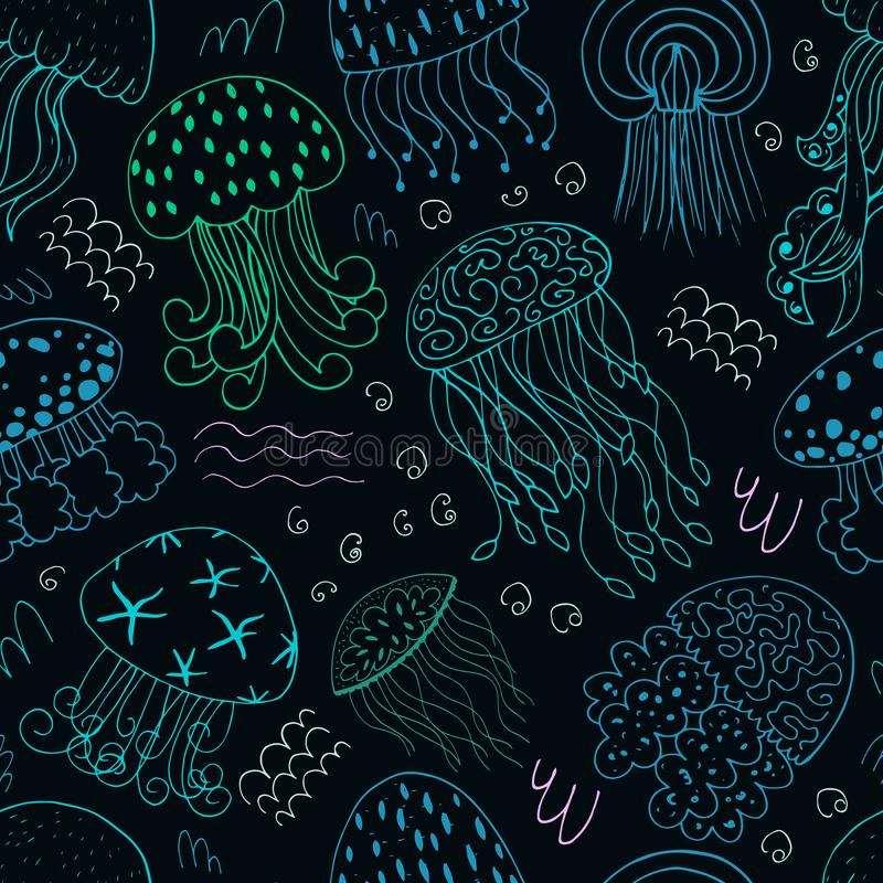 Colorful seamless background with a collection of jellyfish. Hand drawn vector illustration of marine fauna in line art vector illustration