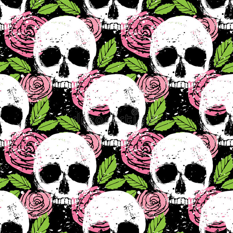 Colorful seamless background with skull, leaf and rose royalty free illustration