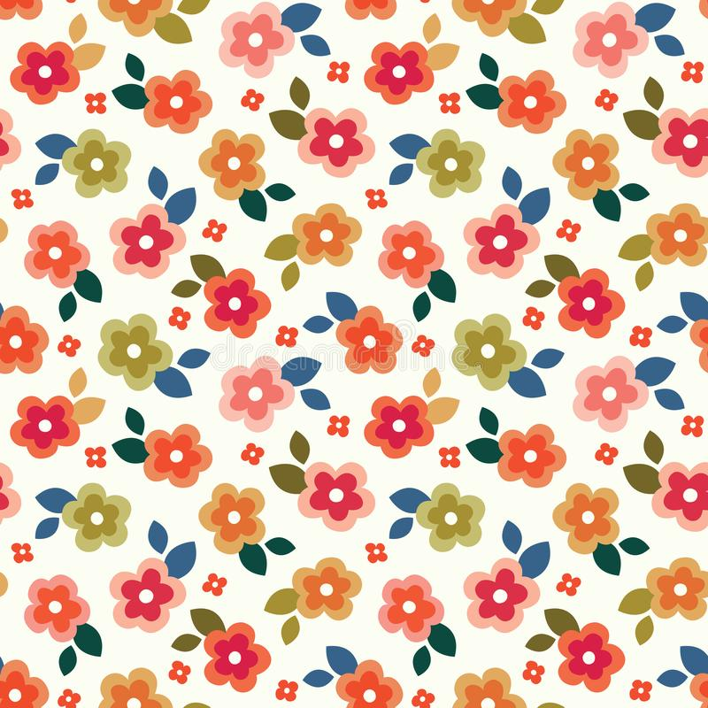 Colorful seamless floral mini print on cream background royalty free illustration