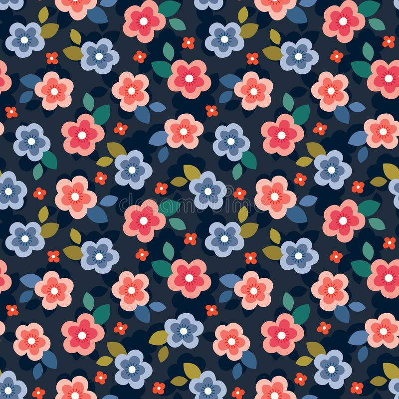 Colorful seamless floral mini print on dark navy background stock illustration