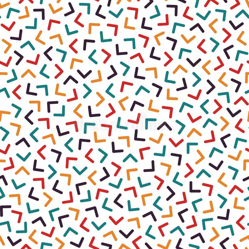 Colorful seamless memphis pattern with mosaic angles. Fashion design 80-90s.  stock illustration