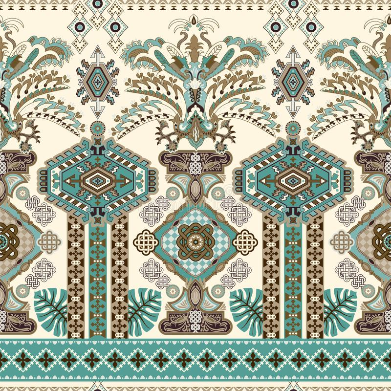 Colorful seamless ornamental pattern, ethnic style. Indian border ornament. Vector clipart. Wallpaper for iphone cover stock illustration