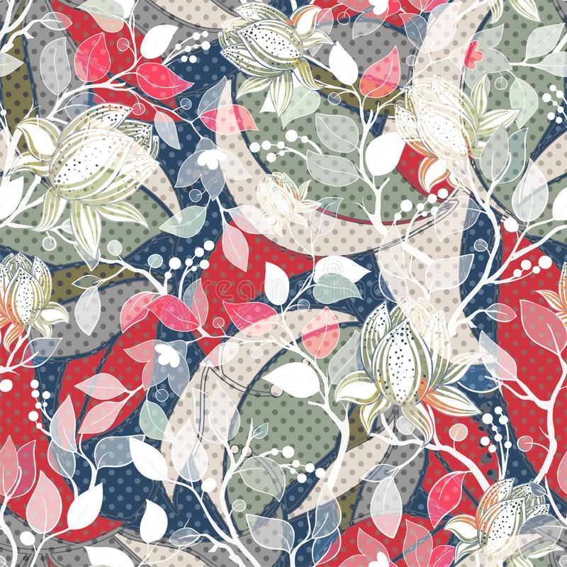 Colorful seamless Paisley pattern. Decorative indian ornament. Floral wallpaper stock illustration