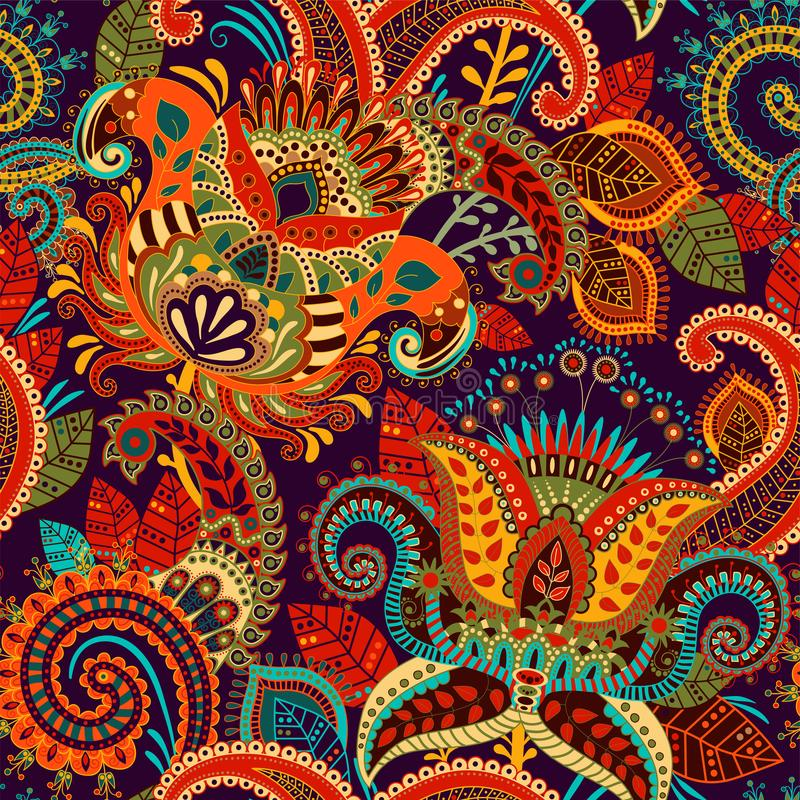 Colorful seamless Paisley pattern. Decorative indian ornament. Floral wallpaper vector illustration