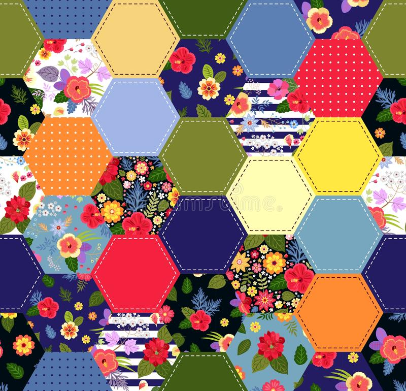 Colorful seamless patchwork pattern with bright flowers. Trendy quilting design. Print for fabric and textile royalty free illustration