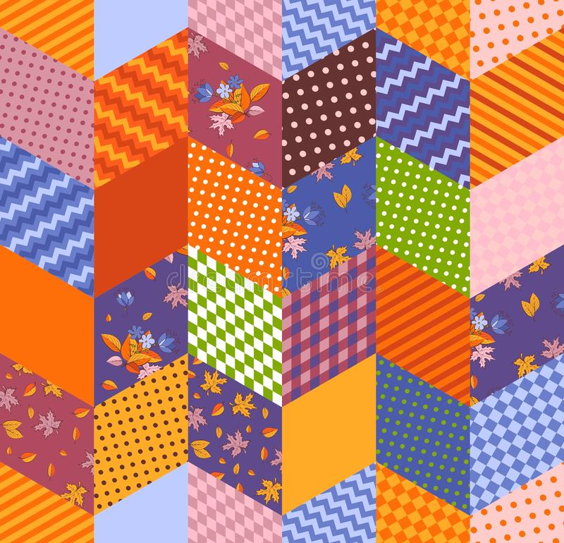 Colorful seamless patchwork pattern. Quilting design. Bright print for fabric and textile.  royalty free illustration