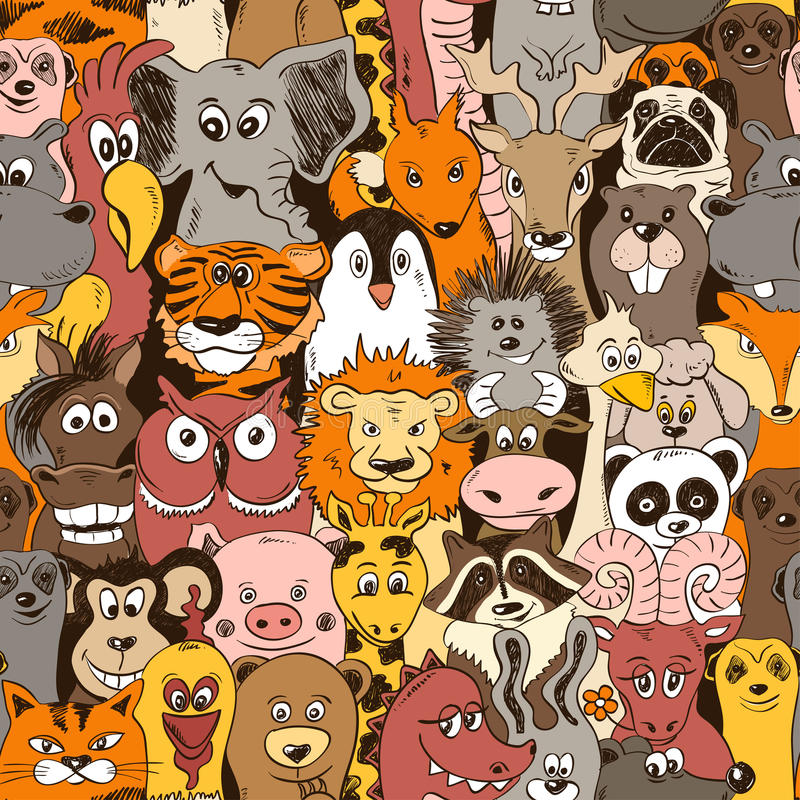 Colorful Seamless Pattern With Animals. royalty free illustration