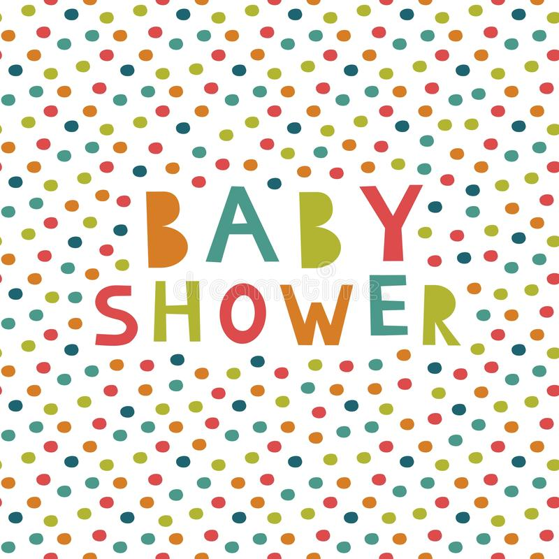 Colorful seamless pattern, Baby shower card. stock illustration