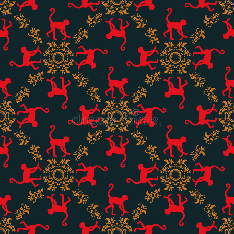 Colorful seamless pattern background with monkeys. Symbol of 2016 year. Red monkey texture with gold floral ornament. royalty free illustration