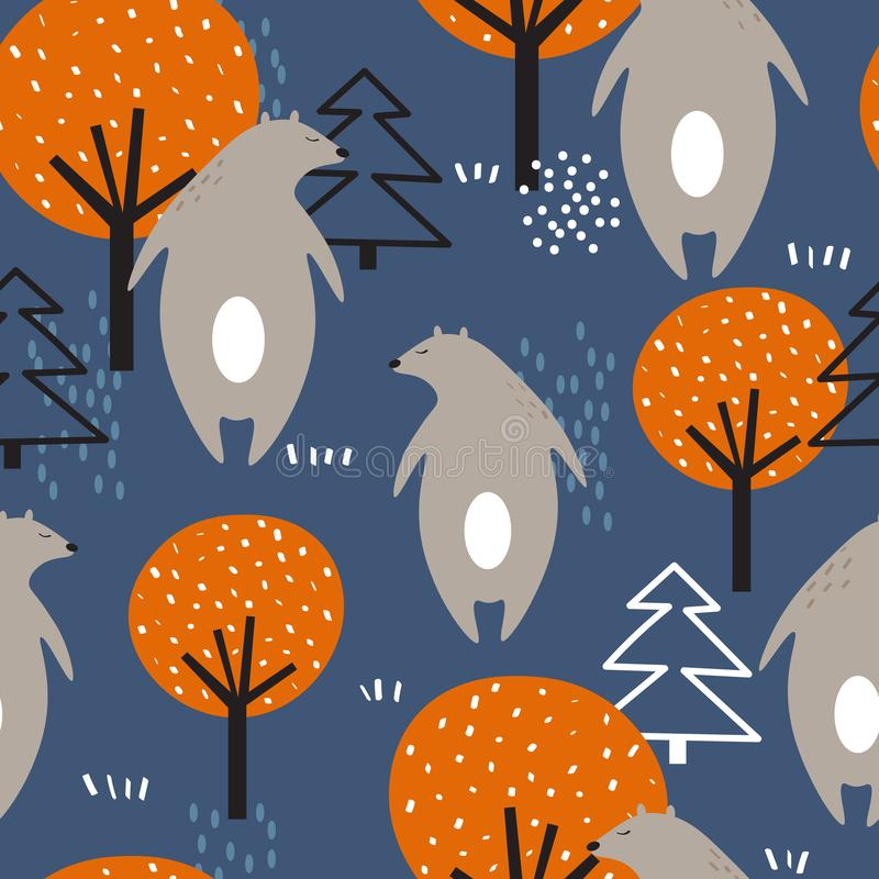 Colorful seamless pattern, bears, fir trees and trees. Decorative cute background with animals stock illustration