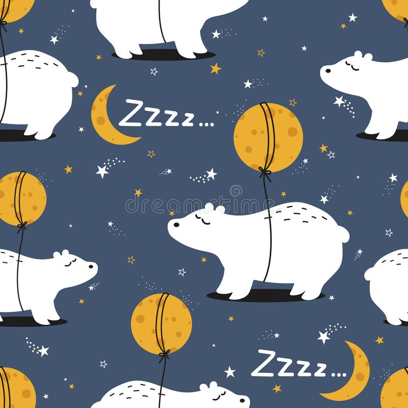 Colorful seamless pattern with bears, moon, stars. Decorative cute background with animals royalty free illustration