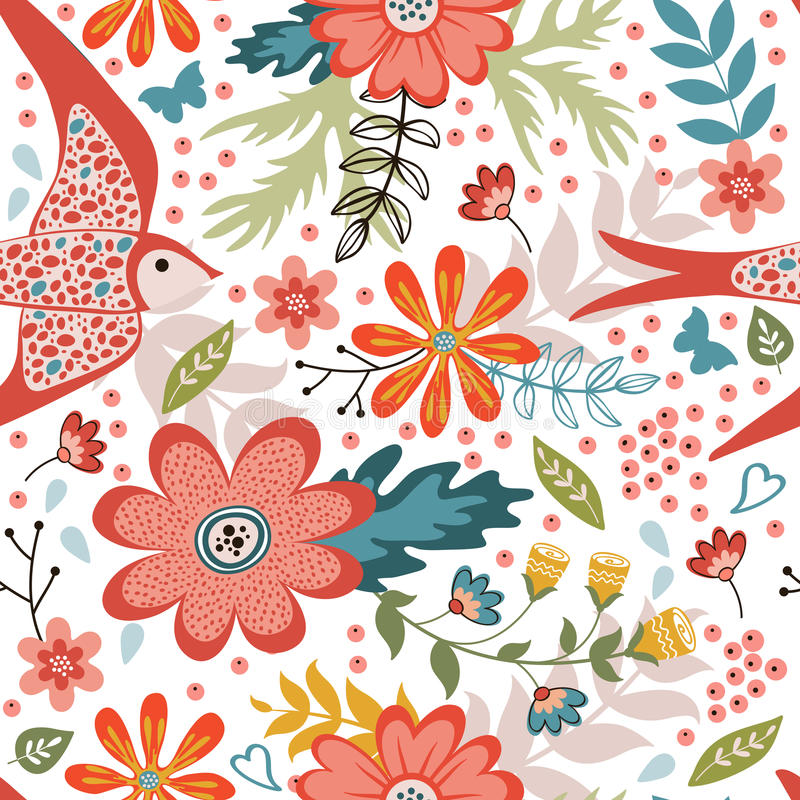 Colorful seamless pattern with birds and blooming vector illustration
