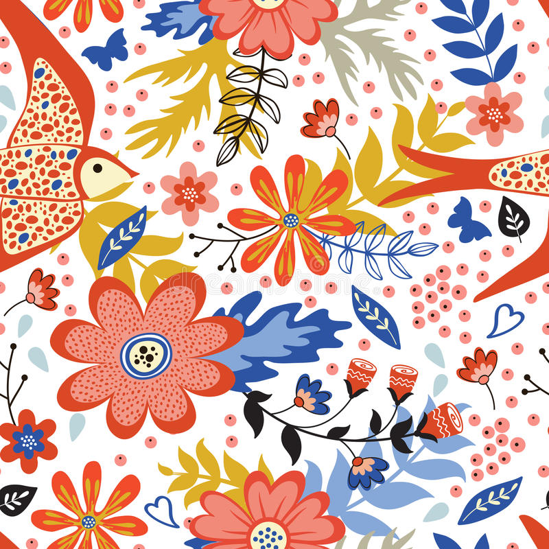 Colorful seamless pattern with birds and blooming royalty free illustration