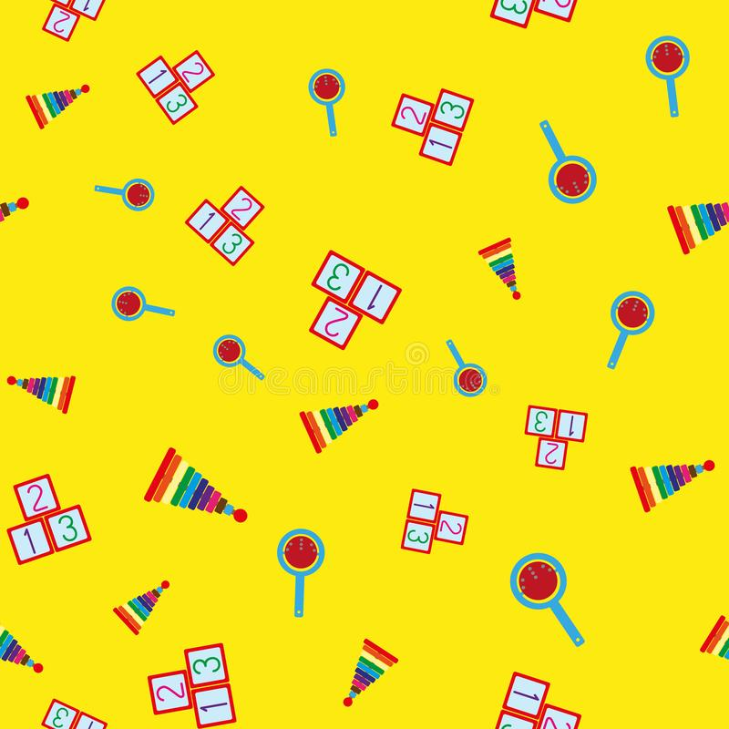 Colorful seamless pattern with children`s toys. Repetitive pyramids, rattles, cubes with numbers. vector illustration
