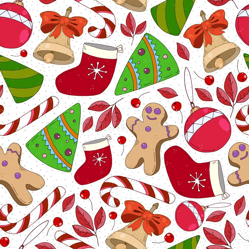 Colorful seamless pattern with christmas tree, gingerbread man, sock, ball, bell, caramel cane, decorative elements. vector. hand. Drawing. Design for fabric stock image