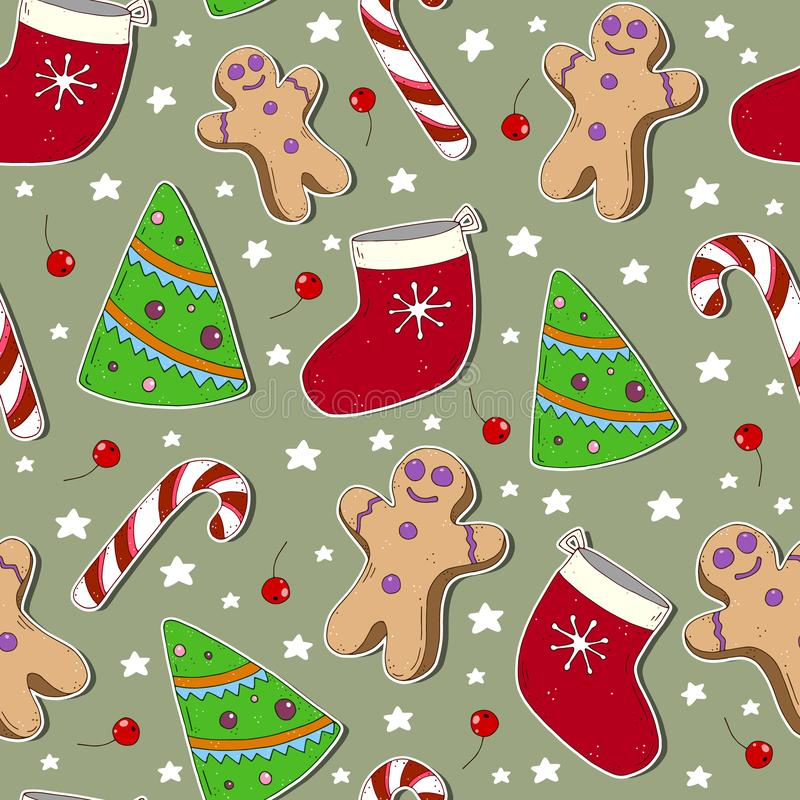 Colorful seamless pattern with christmas tree, gingerbread man, sock, caramel cane, decorative elements on a neutral background. v. Ector. hand drawing vector illustration