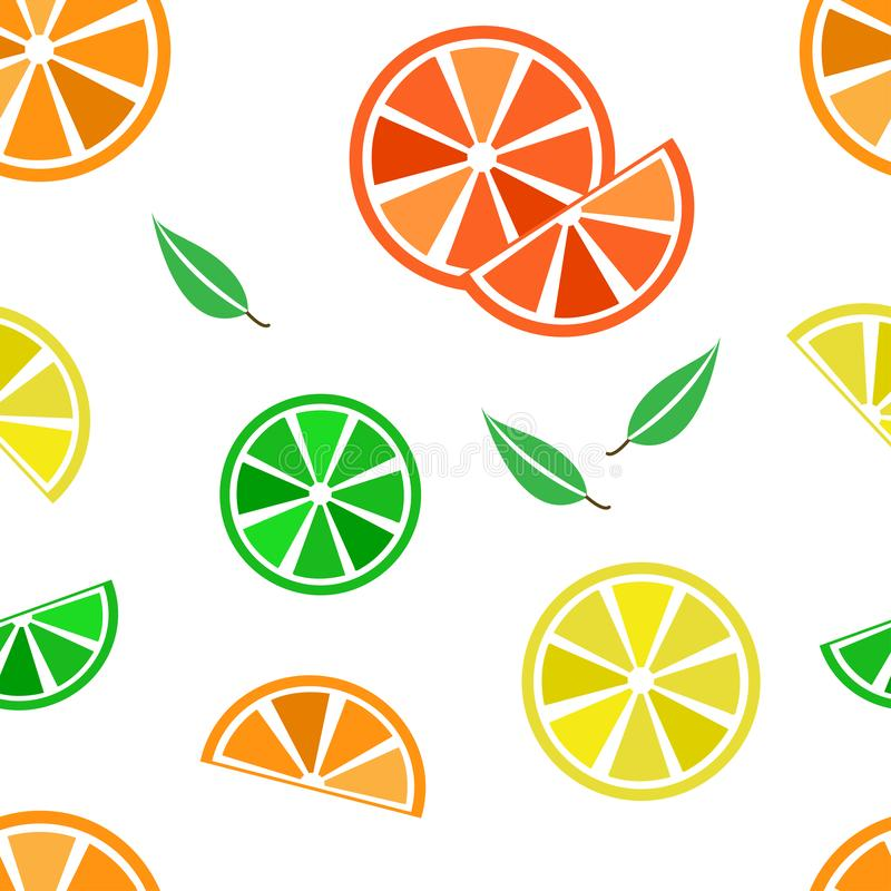 Colorful seamless pattern with citrus fruits and leaves. Vector illustration. Colorful seamless pattern with citrus fruits and leaves on white background. Vector vector illustration