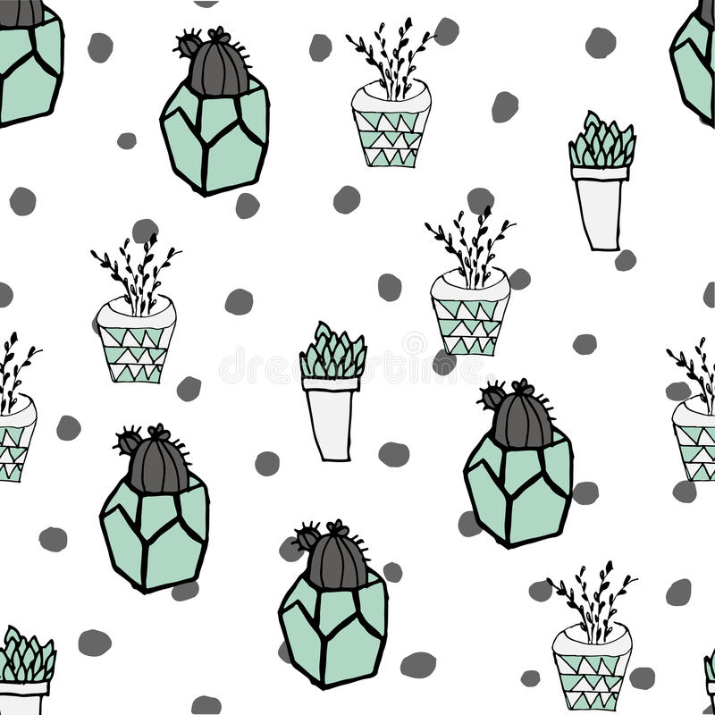 Colorful seamless pattern with cute cactus in simple hand drawn stock photography