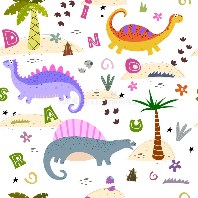 Colorful seamless pattern with cute cartoon dinosaurs, decorative elements. vector. theme for children. Design for fabric, print, textile, wrapping paper vector illustration