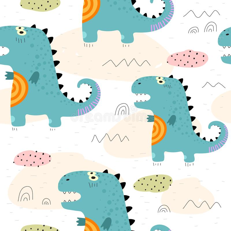Colorful seamless pattern with cute cartoon dinosaurs, decorative elements. vector. theme for children. Design for fabric, print, textile, wrapping paper stock illustration