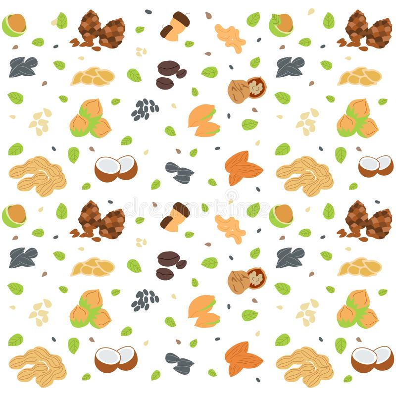 Colorful seamless pattern with different nuts and seeds. Organic healthy food concept. Vector background for your design stock illustration