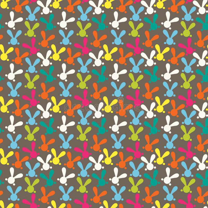 Colorful seamless pattern with easter bunny royalty free illustration