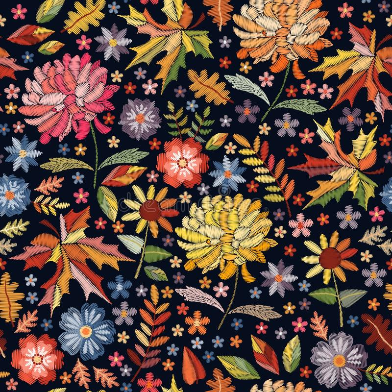 Colorful seamless pattern with embroidered flowers and leaves. Bright embroidery design on black background royalty free illustration
