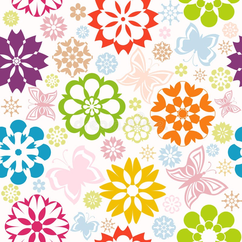 Colorful seamless pattern with flowers royalty free stock images